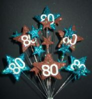 Star age 80th birthday cake topper decoration in teal and choc - free postage